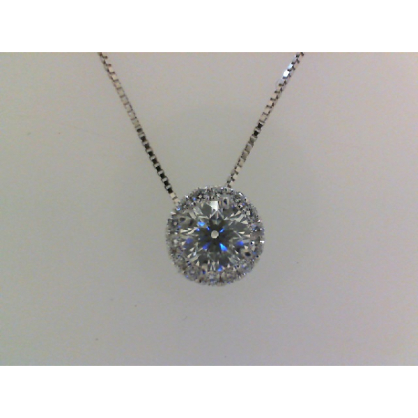 14KW Round Halo Diamond Pendant Mounting for .50ct. 14RBC=.10 *center stone and chain sold separately*