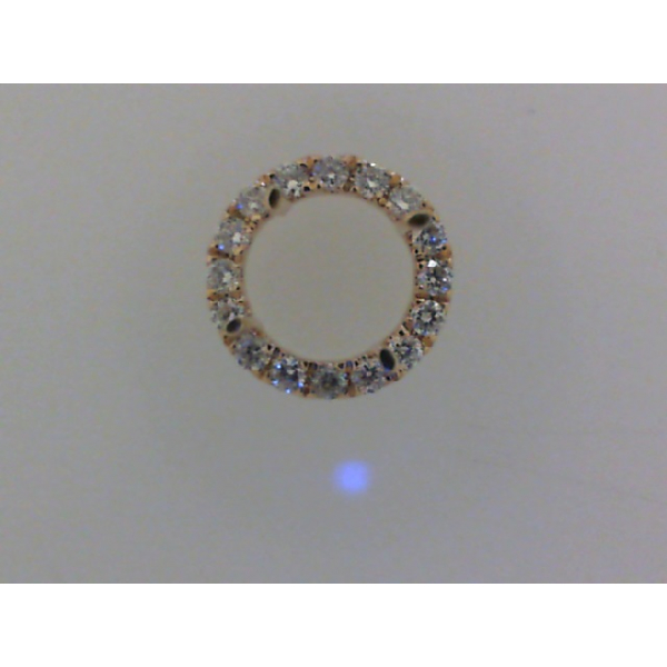 14KY Round Halo Diamond Pendant Mounting for .75ct 16RBC=.11 *center stone and chain sold separately*