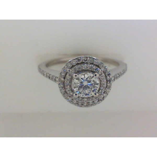 14KW Round Double Halo Diamond Ring 1RBC=0.36 & 68RBC=.33, Sz. 6.5