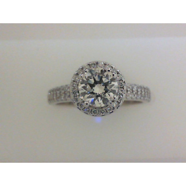 18KW Round Halo Micro Pave' Diamond Ring 1RBC=.73 & 60RBC=.35 *Cert on Card*, Sz. 6.5
