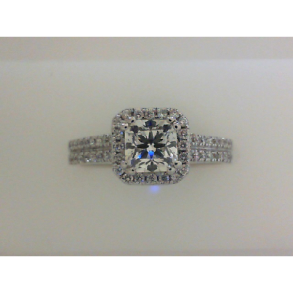 18KW Square Halo Double Row Shank Diamond Ring 1PC=.70 & 52RBC=.26 *Cert. on Card*, Sz. 7
