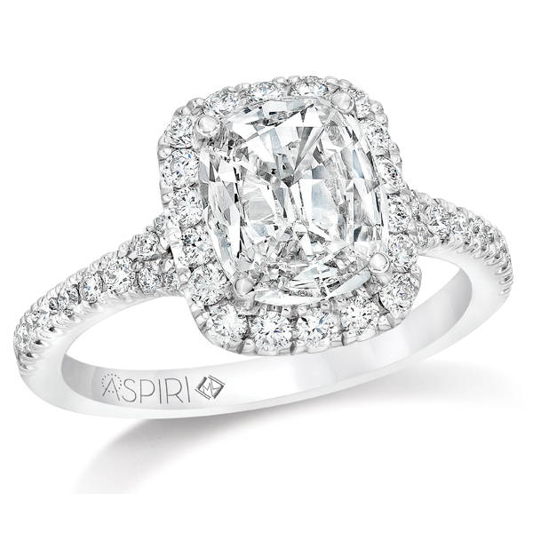14KW Aspiri Cushion Halo Seraphina Style Ring .51 Aspiri Diamond G, I1 & 38RBC=.51 *center stone varies from photo*, Sz. 6.5
