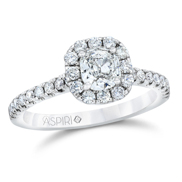 14KW Aspiri Cushion Halo Bella Style Ring .49 Aspiri Diamond G, I1 & 32RBC=.53 *center stone varies from photo*, Sz. 6.5