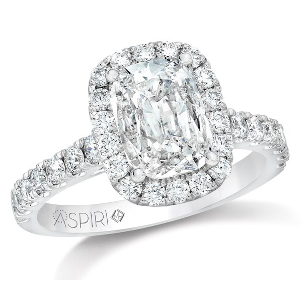 18KW Aspiri Cushion Halo Bella Style Ring 1.00 Aspiri Diamond I, SI2 & 30RBC=.76 *center stone varies from photo*, Sz. 6.5