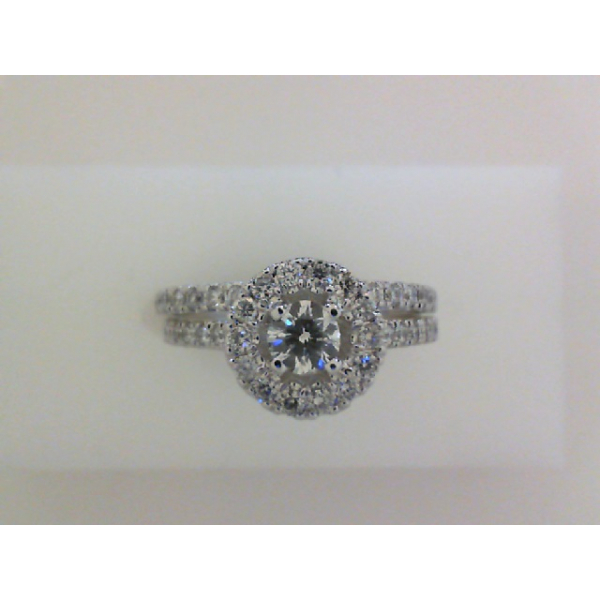 14KW Round Halo Single Row Diamond Ring and Band Set 1RBC=.25 & D=.74, Sz. 7