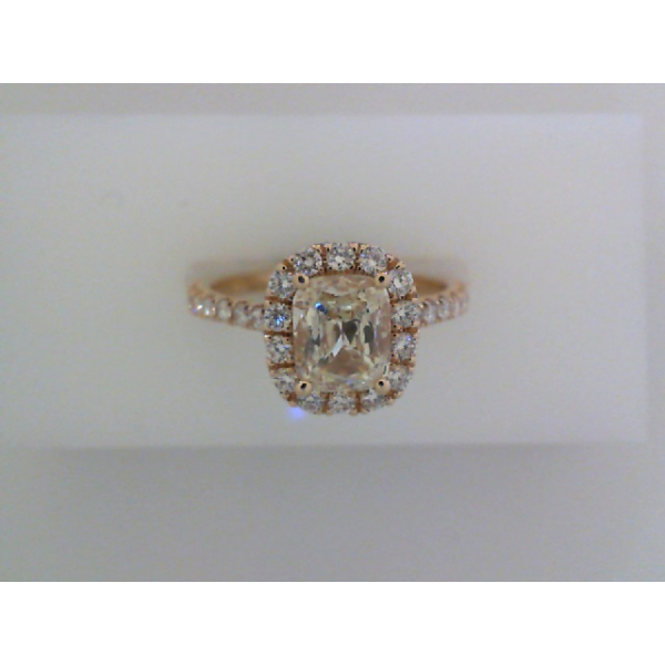 14KY Aspiri Cushion Halo Diamond Ring .73 Aspiri Diamond M, SI2 & 32RBC=.54, Sz. 6.5