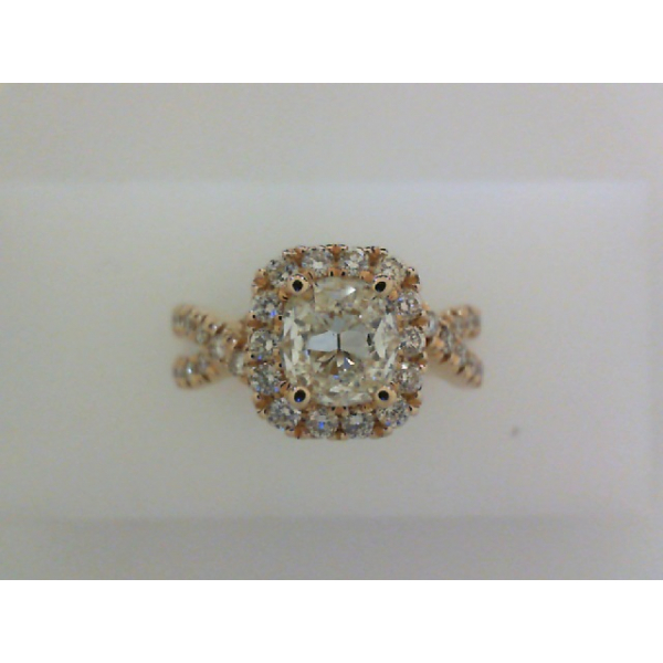 14KY Aspiri Cushion Halo Arabella Style Braided Shank Ring .78 Aspiri Diamond L, SI1 & 42RBC=.61, Sz. 6.5