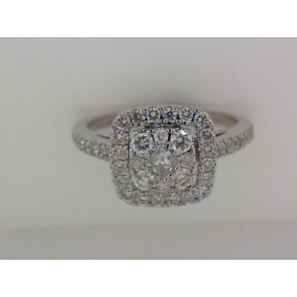 14KW Cushion Shape Cluster Diamond Halo Ring 43RBC=.50, Sz. 6.5