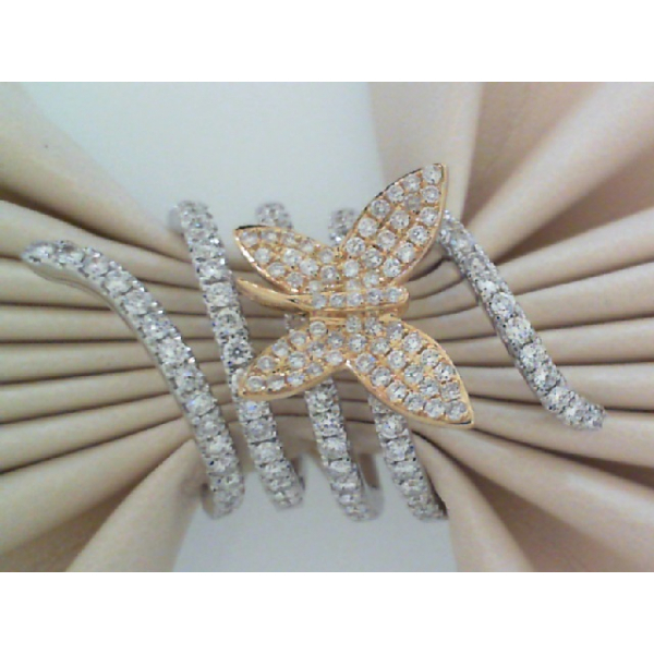 18KY/W Flexible Butterfly Wrap Diamond Ring 151RBC=1.44, Sz. 7