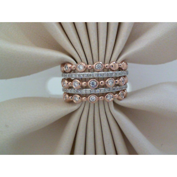 14KW/R 5 Stackable Bezel and Pave' Diamond Bands D=.52, Sz. 7
