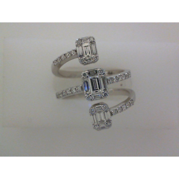 14KW 3 Row Wrap Baguette and Round Diamond Ring 15BG=.55 34RBC=.32, Sz. 6.5