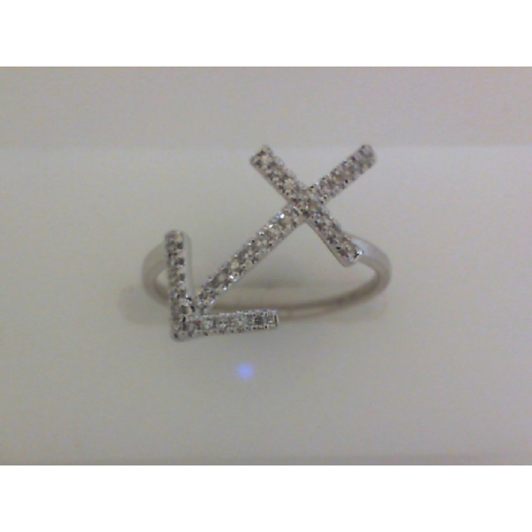 14KW Anchor Diamond Ring D=.13, Sz. 7