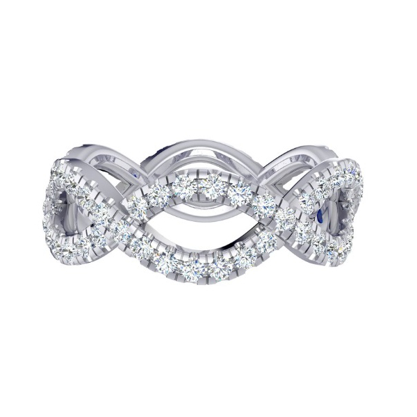 14KW Fana Braided Infinity Style Diamond Eternity Band RBC=1.05, Sz. 6.5