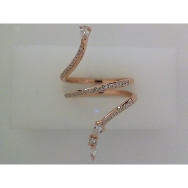 14KR 3 Row Round, Marquise & Pear Shape Diamond Ring MQ=.04 P=.11 RBC=.21, Sz. 7