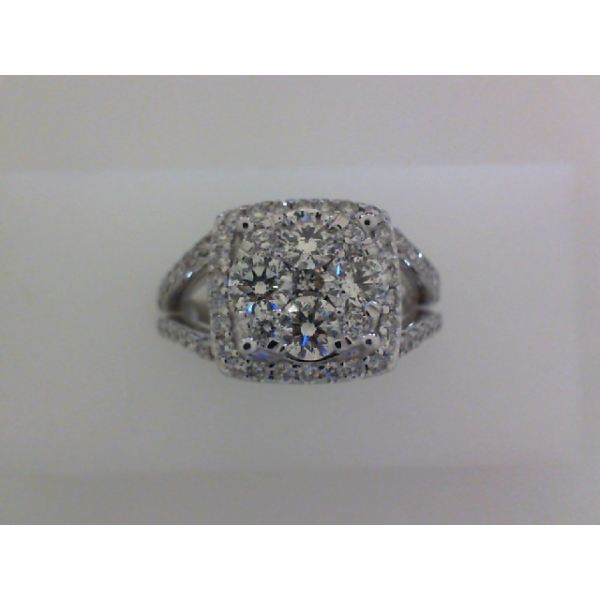 14KW Diamond Cluster Split Shank Cushion Halo Cocktail Ring D=1.51, Sz. 6.5