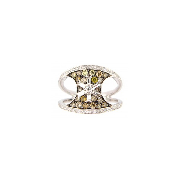 14KW Fancy Color Abstract Diamond Ring D=.88