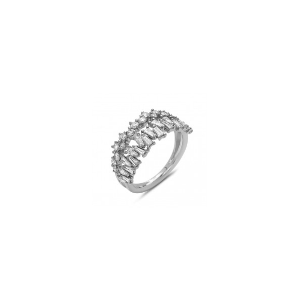 14KW Abstract Baguette & Round Double Row Diamond Ring D=1.03, Sz. 6.5