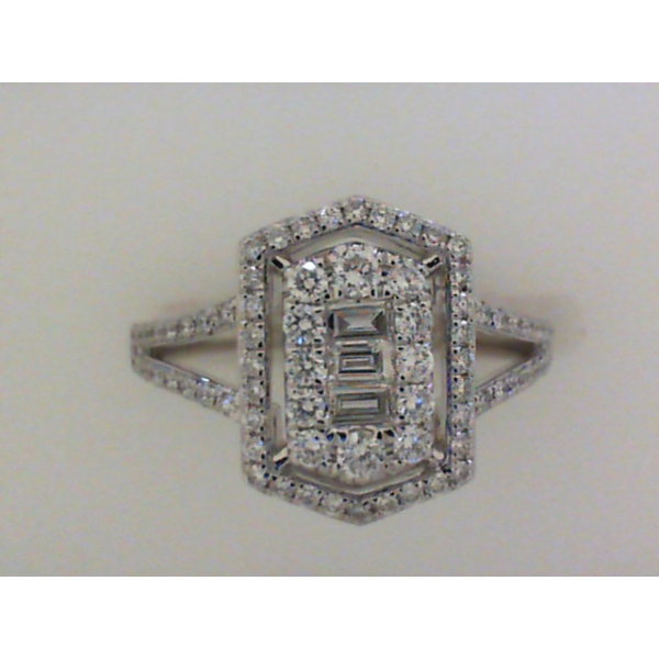14KW Abstract Baguette & Round Split Shank Diamond Ring D=.53, Sz. 6.5