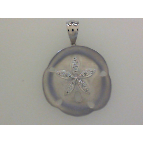 14KW Sand Dollar Diamond Pendant 10RBC=.08 *chain sold separately*
