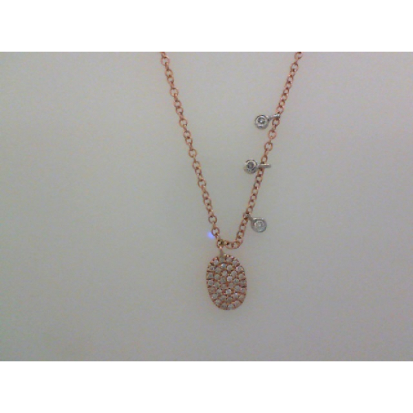 "14KW/R Pave' Oval Drop Diamond Necklace D=.17 16"" by Meira T"