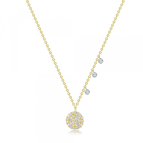 "14KW/Y Pave' Circle Drop Diamond Necklace D=.24 16"" by Meira T"