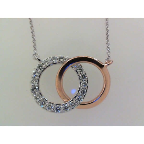 14KW/R Interlocking Double Circle Diamond Pendant 20RBC=.38 20""