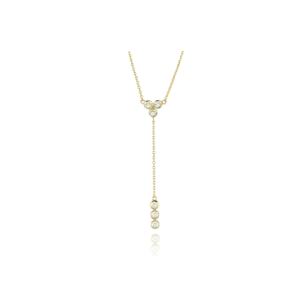 "18KY ""Y"" Style Lariat Diamond Necklace 6RBC=.34 18"""