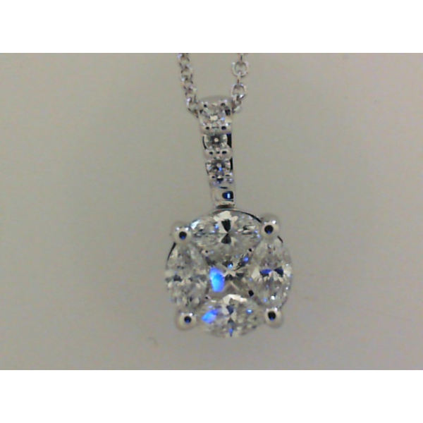 14KW Cluster Marquise/Princess Diamond Pendant 4MQ, 1PC, 3RBC=.68 16""