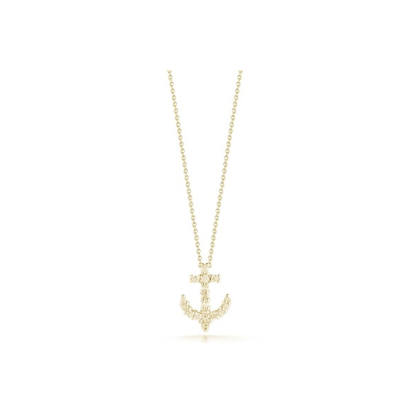 18KY Roberto Coin Tiny Treasure Anchor Diamond Pendant 17RBC=.15 18""