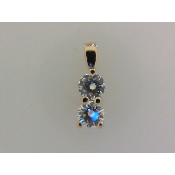 14KY Double Diamond Drop Pendant 2RBC=.36 *chain sold separately*