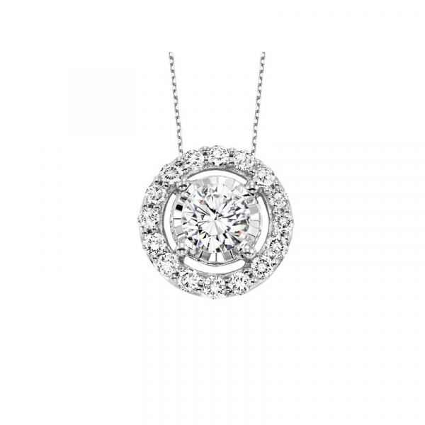 14KW Illusion Set Diamond Halo Pendant 15RBC=.10 18""