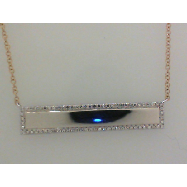 14Y/W Polished Diamond Bar Necklace D=.21 16-18""