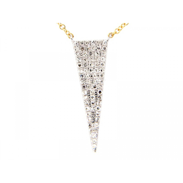 "14KY/W Solid ""V"" Shape Diamond Necklace D=.21 16-18"""