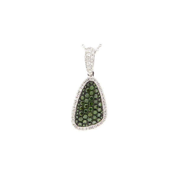 14KW Green & White Freeform Pave' Diamond Pendant D=.67 18""