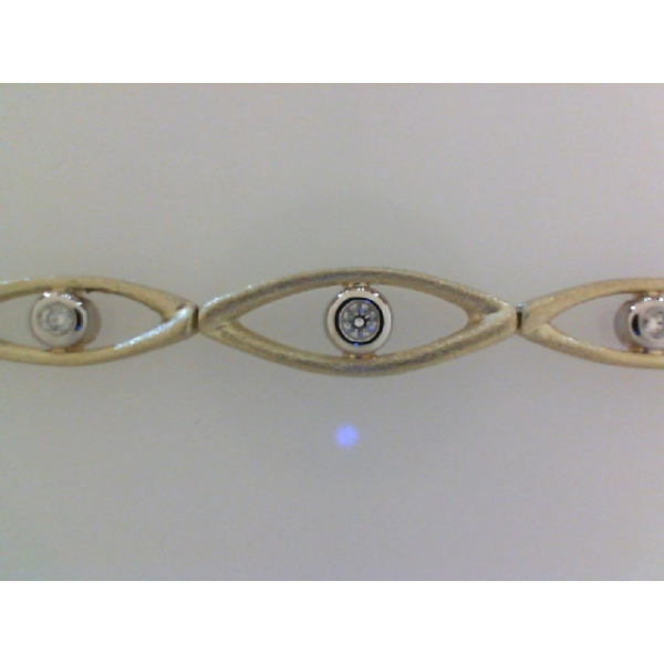14KY/W Open Satin Finish Diamond Bracelet 12RBC=.24 7""