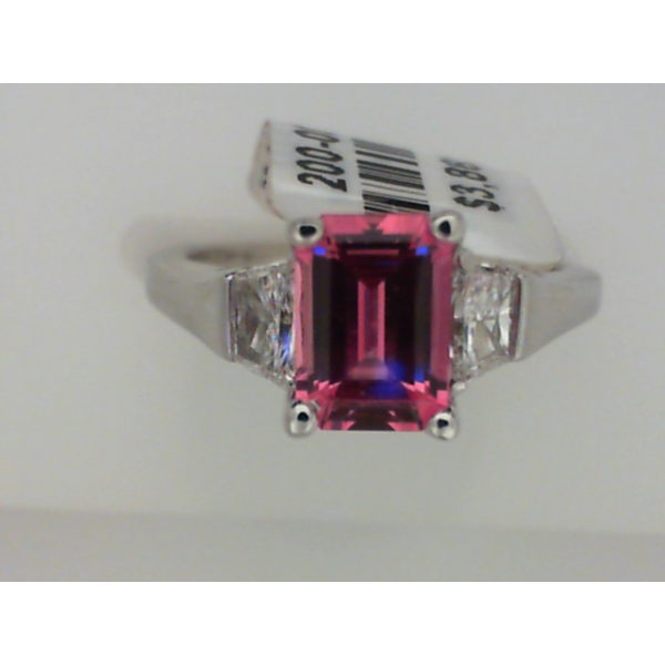 1I1867 14KW 3 Stone Synthetic Padparadscha Sapphire and Diamond Ring D=0.39, Sz. 6 *FINAL SALE*