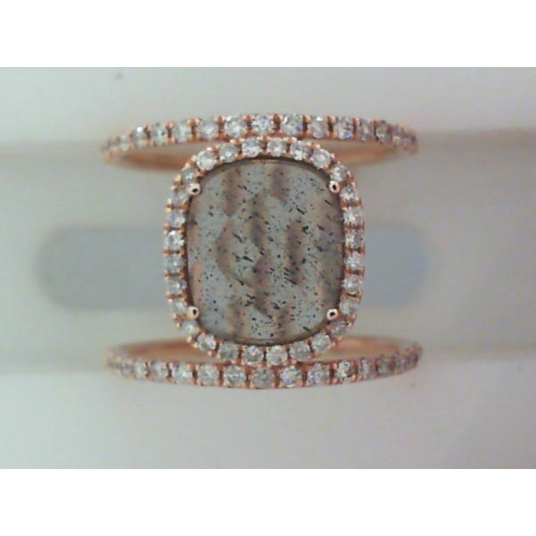 14KR Wide Double Row Labrodorite & Diamond Ring L=1.60 D=.46 by Meira T, Sz. 6 *FINAL SALE*
