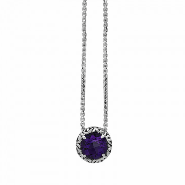 "S/S CHARLES KRYPELL Round Ivy Amethyst Pendant A=1.71 18"" *FINAL SALE*"