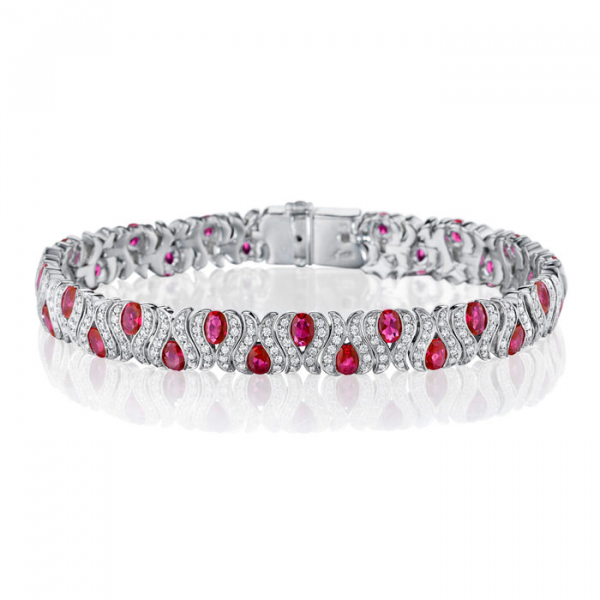 14KW Fana Fancy Alternating Oval Ruby & Diamond Bracelet 32R=8.00 390RBC=2.28 7""