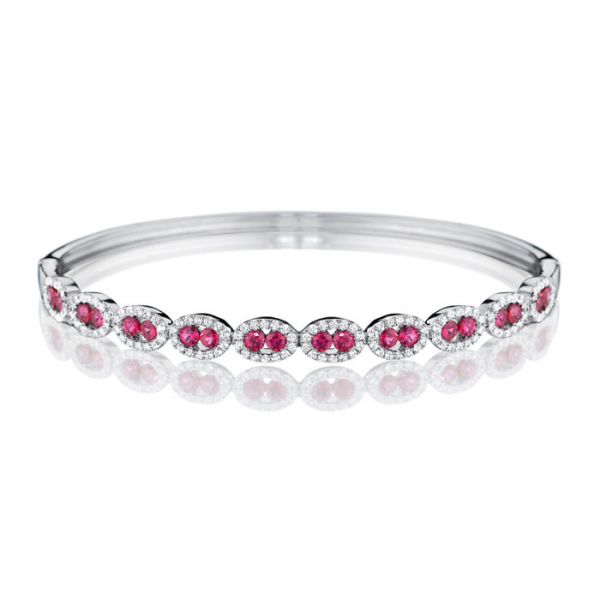 14KW Fana Fancy Oval Station Ruby & Diamond Bangle Bracelet 20R=1.60 140RBC=.95