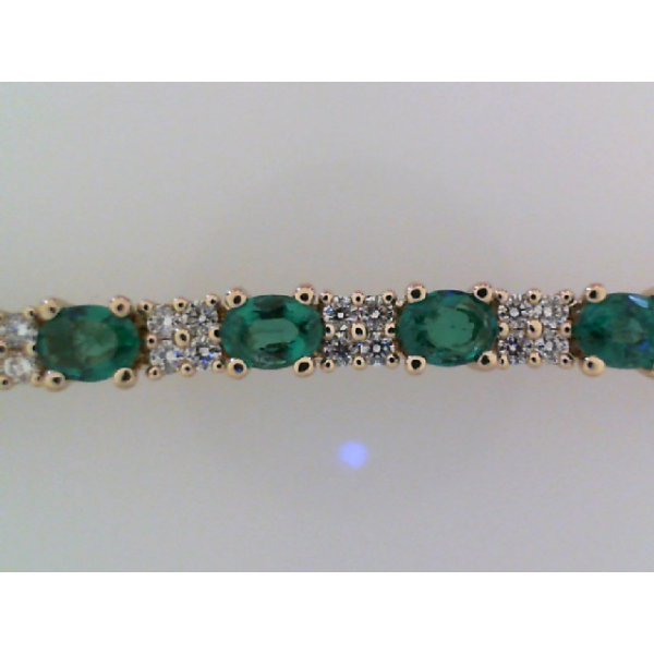 14KY Fana Oval Emerald &  Diamond Tennis Style Bracelet 25E=4.50 100RBC=1.56 7.25""