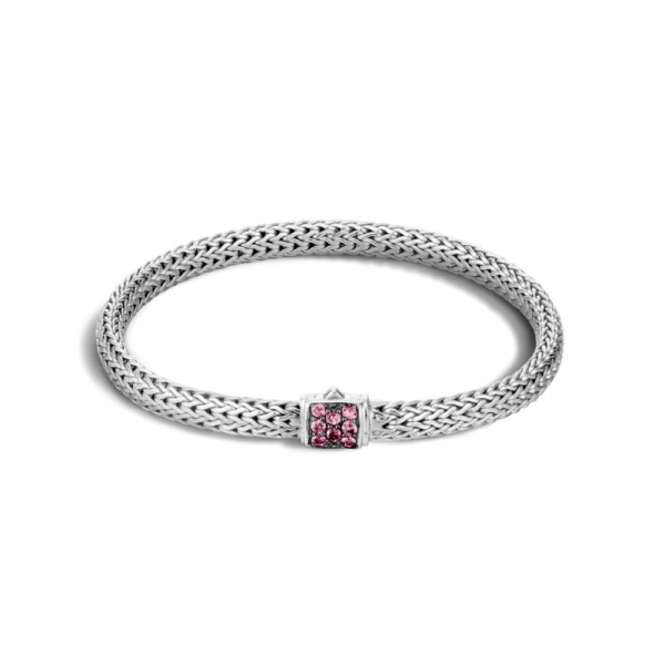 S/S John Hardy Extra Small 5MM Classic Chain Pink Spinal Bracelet-M