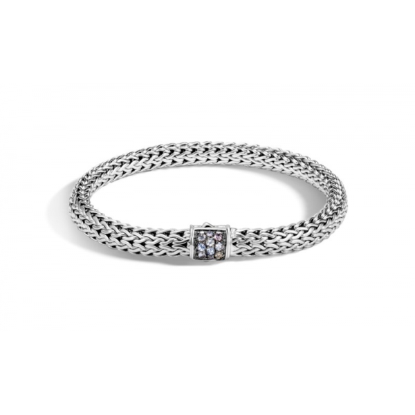 S/S John Hardy Small 6.5MM Classic Chain Grey Sapphire Bracelet-M
