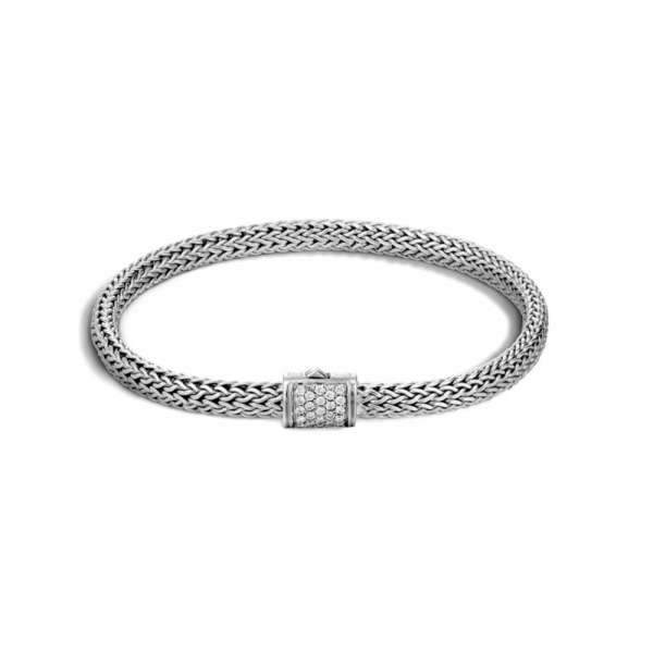 S/S John Hardy Extra Small 5MM Classic Chain Diamond Bracelet-S D=.18