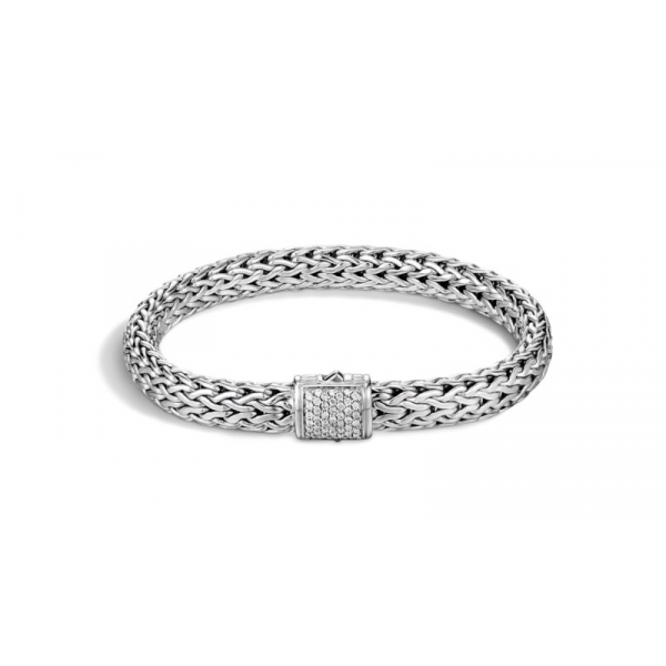 S/S John Hardy Medium 7.5MM Classic Chain Diamond Bracelet-M D=.24