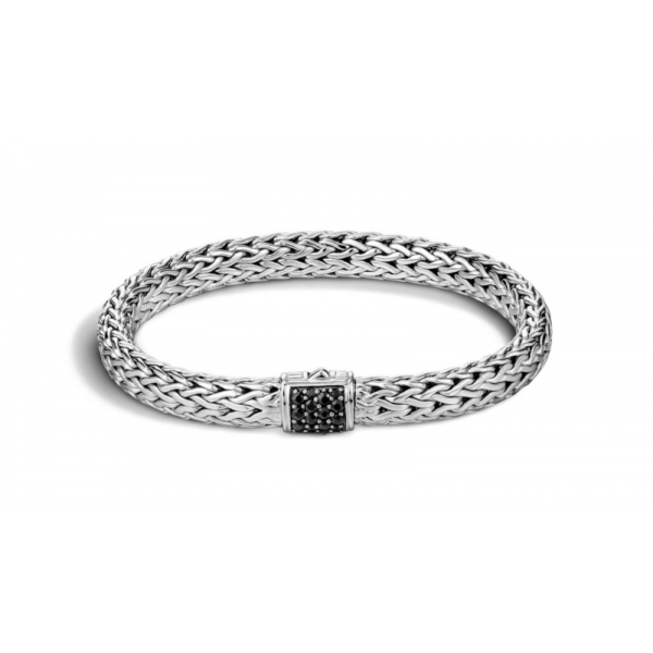 S/S John Hardy Medium 7.5MM Classic Chain Black Sapphire Bracelet-M